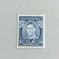 APD574) Australia 1938 KGV 3d Bright Blue Die II (Thick) Perf 13½ x 14 MUH