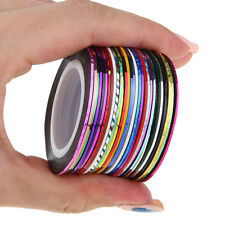 30 rolls Nail Art 1mm Adhesive Striping Tape Line Decals Sticker Decoration