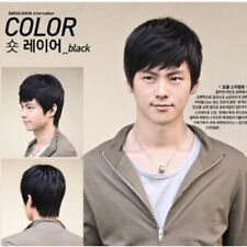 Handsome Men's Short Straight Cosplay Black Hair Wig Full Wigs Hairpiece