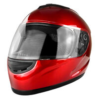 Full Face Gloss Red Motorcycle Helmet With Clear Flip Up Visor - DOT Approved