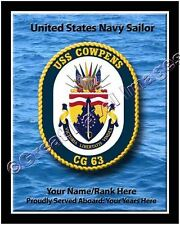 USS Cowpens CG 63 Personalized Ship Crest Print on Canvas 2D Effect