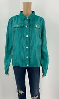 Travelsmith Womens Jacket Boxy Shirt Button Up Size L Teal Green Iridescent X1