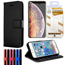For iPhone 8 Plus Leather Wallet Case + Gorilla Glass Screen Proector Flip Cover