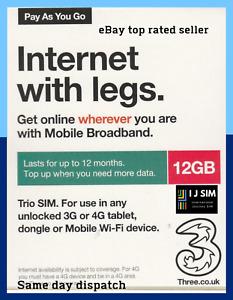 Three PAYG Preloaded 12GB 3G 4G Data SIM Mobile Broadband lasts upto 12 months