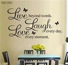 1PC LIVE LAUGH LOVE Every Day Quote Mural Decal Home Room Decor Wall Stickers