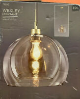 NEXT Wexley Pendant Fitting Ceiling Light Gold Finish Double Glass Shade