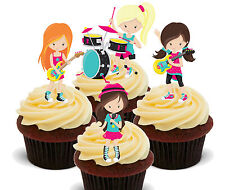 Girl Rock Band Edible Cupcake Toppers, Stand-up Fairy Cake Decorations Birthday