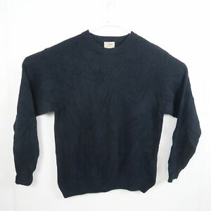 LL Bean Mens Cable Knit Sweater Size M Navy Blue Crew Neck Pullover Jumper