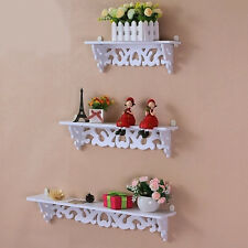 3Pcs White Wooden Wall Mounted Shelf Display Hanging Rack Storage Holder Home
