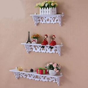 Set of 3 Wooden Floating Wall Shelves Storage Display Kitchen Bedroom Shelf Unit