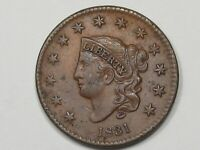 1831 US Coronet Head Large Cent Coin (Large Letters).  #26