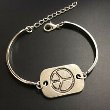 Gothic hand made fine silver Peace Sign Cuff Bangle Bracelet Jewelry Hallowmas