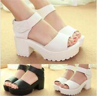 UK Women Summer Chunky Heel Platform Peep Toe  Preppy Sandals Shoes Pumps !