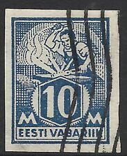 ESTONIA SCOTT 64 USED VF - 1922 10m DEEP BLUE ISSUE  CAT $16
