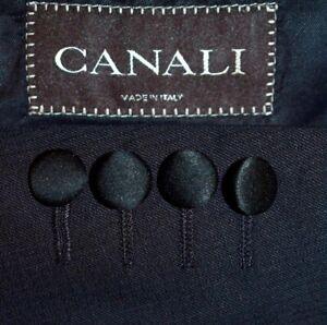 46L Canali PEAK LAPEL Black Tuxedo Evening Dinner Jacket Sport Coat Blazer