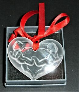 LALIQUE Christmas 1996 Angel Heart Clear Crystal Ornament -New in Box