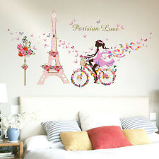 60x90cm Flower Fairy Paris Decal Eiffel Tower Wall Sticker Quote pvc Home Decor