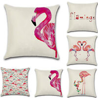 Vintage Flamingo Decorative Cotton Linen Throw Pillow Case Cushion Covers 18X18""