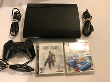 Sony PlayStation 3 PS3 250GB Black Super Slim Bundle Controller With Games