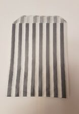 100 paper Grey and white candy stripe sweet bag sweet buffet favour bags gift