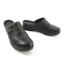 Clarks Bendables 7 Lexi Arctic Black Leather Top Stitch Mules Clogs Shoes 62756