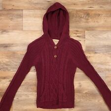 Limited Edition Aeropostale Hooded Cardigan Cotton 1/2 Button Knit Sweater $45