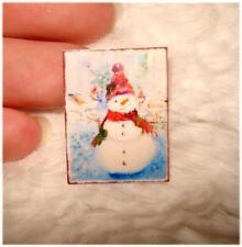 AUSVERKAUF * Miniaturen Schild / Bild / Poster 1:12  * Schneemann mit 2 Vögel *