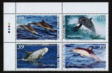 MARSHALL ISLANDS, SCOTT # 892, PLATE BLOCK OF 4 VARIOUS DOLPHINS, YEAR 2007, MNH
