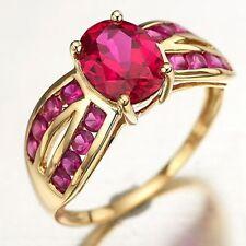 Dazzling 5.0CT Ruby Fashion 18K Gold Filled Women Wedding Band Ring Size 6,7,8,9