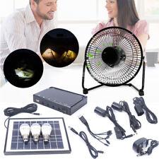 LED Solar Powered Panel Lighting & fan DC system Kit 3x1W Camping home lighting