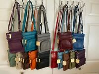 "15 COLORS - Roma Leathers 6 Compartment 100% CROSSBODY LEATHER BAG  9.5"" X 7.5"""