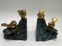 Fabulous Set (Pair) of Antique Cast Iron Gold Bird Bookends w/Original Paint