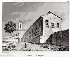 Roma: Chiesa di Sant'Onofrio al Gianicolo. Audot. Acciaio. Stampa Antica. 1836