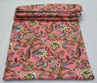 Traditional Cotton Indian Floral Print Ralli Kantha Quilt Twin Blanket Bedspread