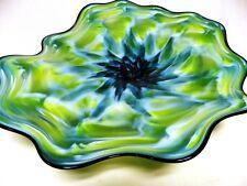 HAND BLOWN GLASS PLATTER #866 ART BOWL WALL HANGING BEAUTIFUL DEEP CENTER RIPPLE