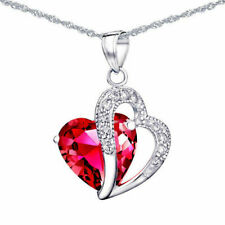 Mabella 5.71 Tcw12mm Heart Cut Created Ruby Sterling Silver Pendant With 18 Chain
