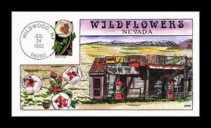 DR JIM STAMPS US COLLINS HAND COLORED WILDFLOWERS DESERT FIVE SPOT FDC 1992