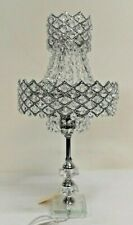50cm H 2 Tiers Chandelier Crystal Bedside Table Lamp Stainless Base JYC108A