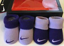 NIKE - baby boy booties swoosh logos dark & light purple - NIB Sharp!!