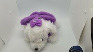 Stuffed Animal Plush Little White Dog purple purse carrier NO strap