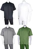 Men's 2-piece Set Mandarin/Banded Collar Casual Shirt & Pants /Walking Suit 2959