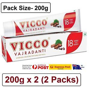 2 X Vicco Vajradanti Ayurvedic Herbal toothpaste 200g for Gums and Teeth 18 Herb