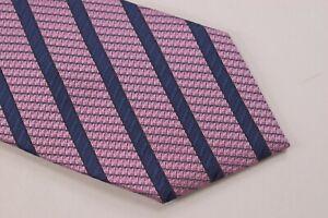 Ermenegildo Zegna NWT Neck Tie In Textured Light Pink W/ Blue Stripes 100% Silk