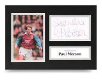 Paul Merson Signed A4 Photo Display Aston Villa Autograph Memorabilia + COA