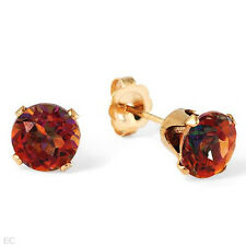 Lovely Stud Earrings W/4.50 CTW Created Topaz Made of 14K Yellow Gold