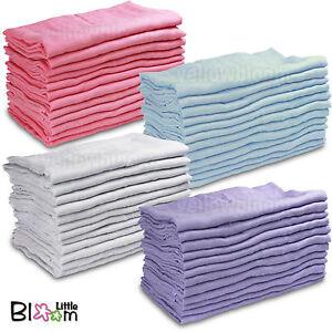 Baby Muslin Squares Cloth 100% Cotton Reusable Nappy Bibs Wipes Burp Cloth