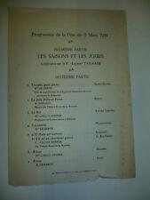 FRANC-MACONNERIE 1914 PROGRAMME SAINT SAENS BRUXELLES