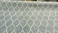 Swavelle Chenille Modern Movement Trellis Soft Sky Blue Fabric by the yard