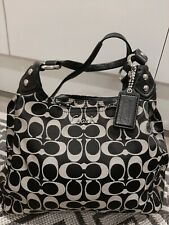 Genuine Coach Signature Logo Shoulder Bag / Handbag in Grey & Black