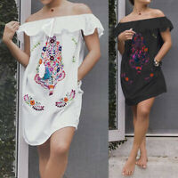 Summer Women Beach Dress Mini Cover Up Off Shoulder Floral Frill Party Shirt Top